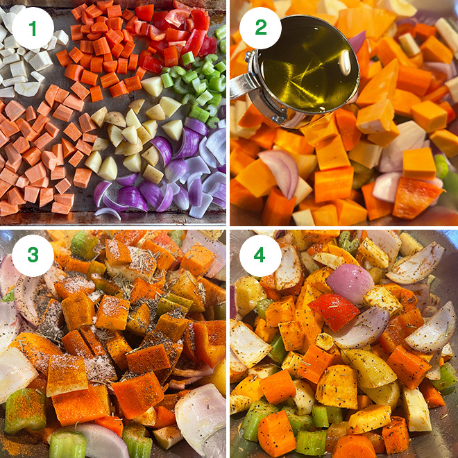 step by step picture collage of roasting winter vegetables