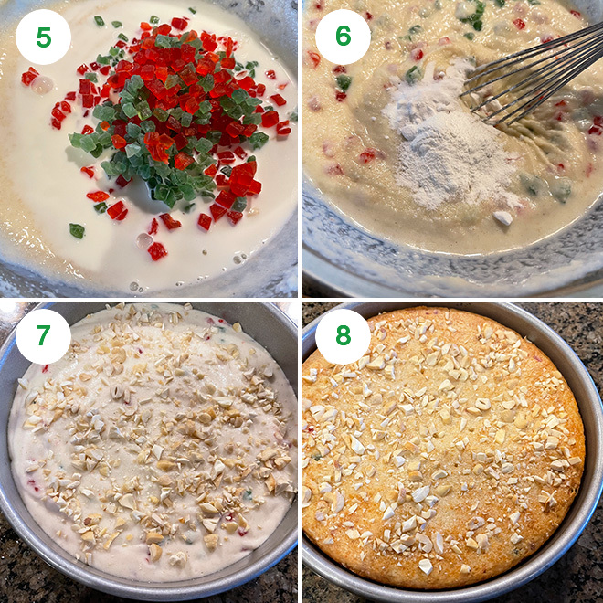 step by step picture collage of making sooji cake at home