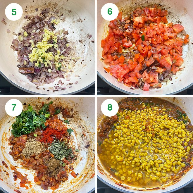 step by step picture collage of making chana dal