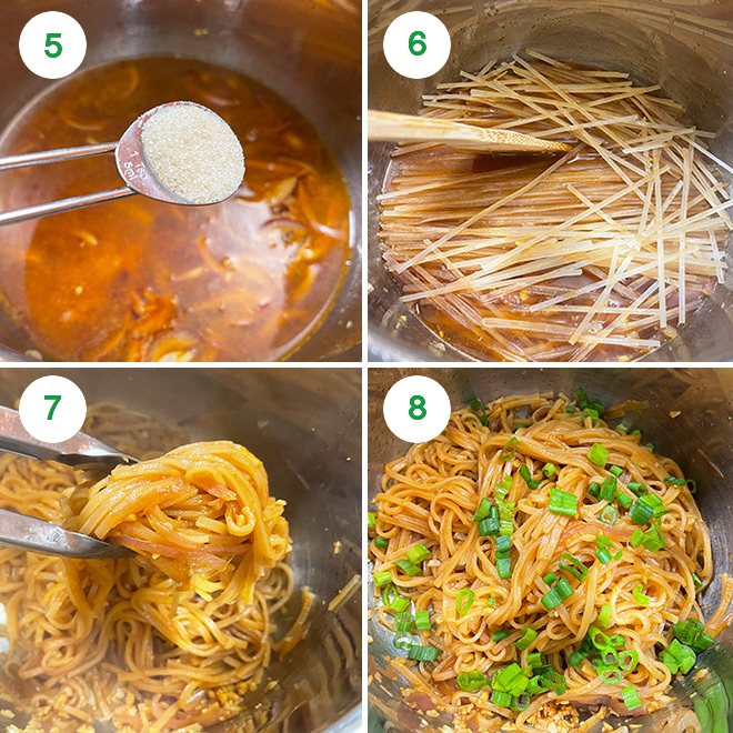 step by step picture collage of making garlic noodles in instant pot