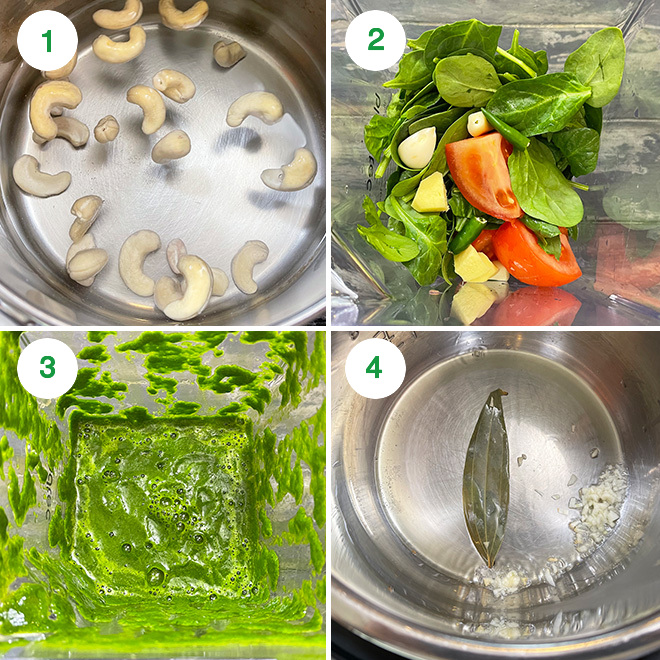 step by step picture collage of making palak mushroom