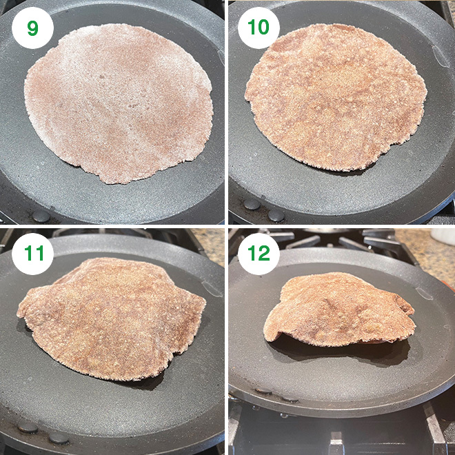 step by step picture collage of making ragi roti