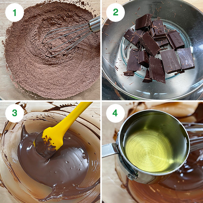 step by step picture collage of making eggless chocolate lava cake
