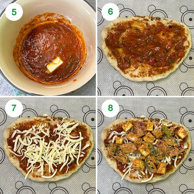 step by step picture collage of making paneer tikka naan pizza