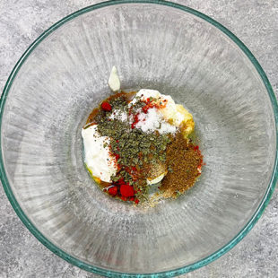 bowl with yogurt and spices
