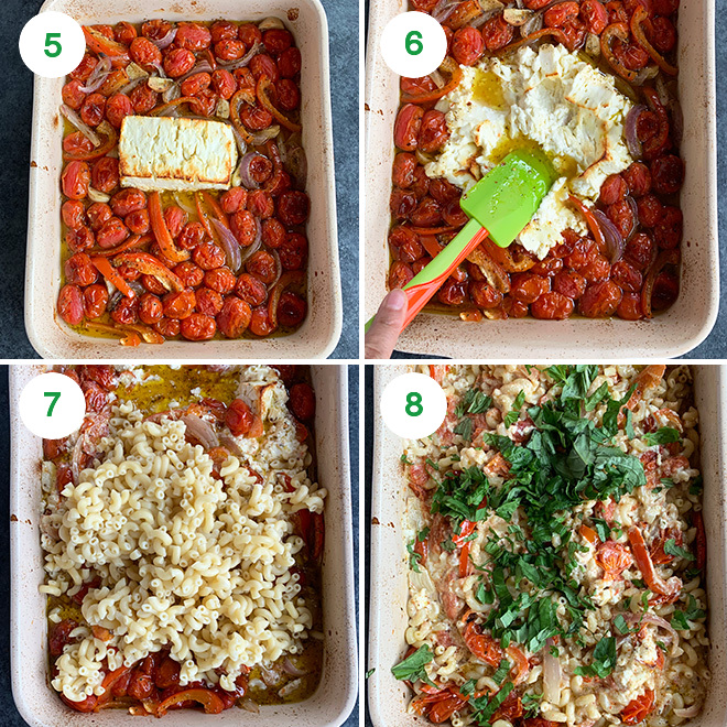 step by step picture collage of making baked feta pasta