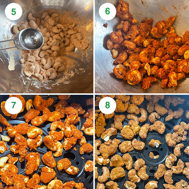 step by step collage of making masala cashews in air fryer