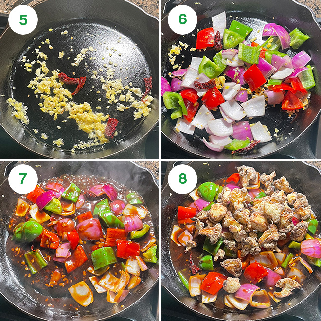 step by step picture of making kung pao cauliflower