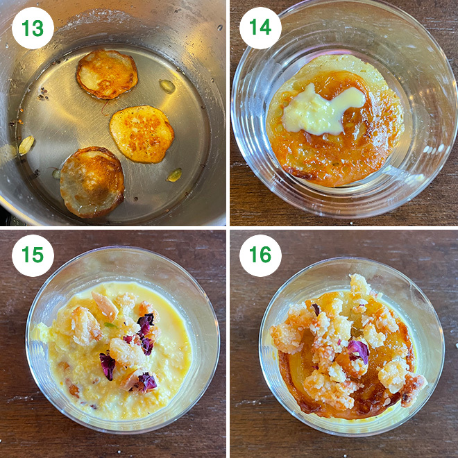 step by step picture collage of making malpua rabdi bites