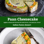 pinterest graphic for paan cheesecake