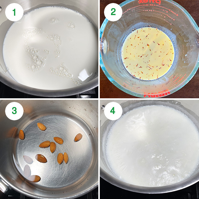 step by step picture collage of making rabdi at home