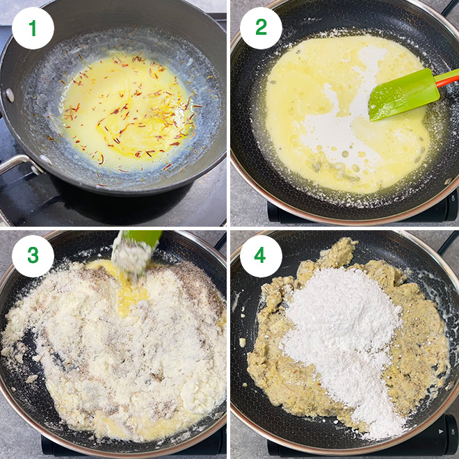 step by step picture collage to make thandai burfi