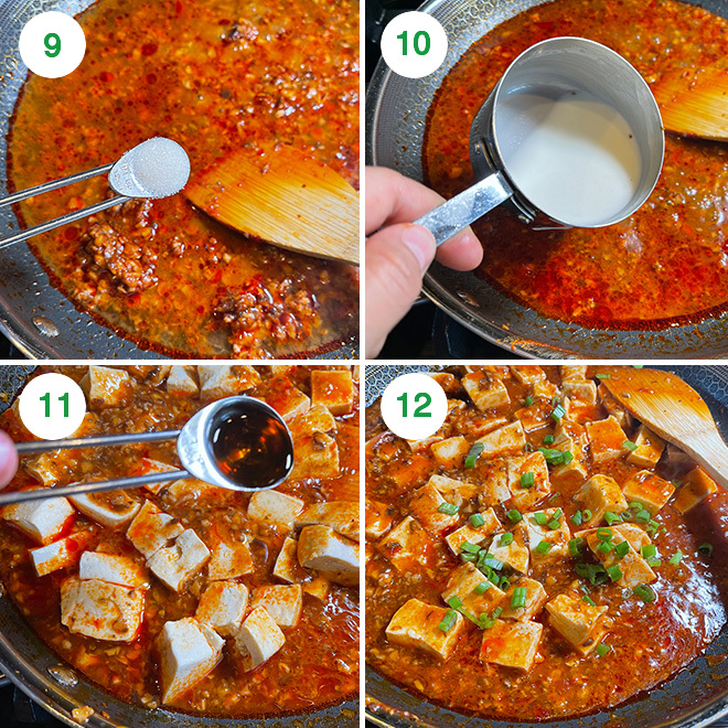 step by step picture collage of making mapo tofu