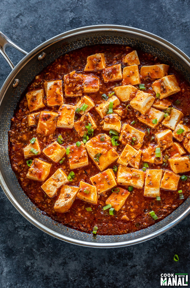 tofu with chili sauce served in a pan