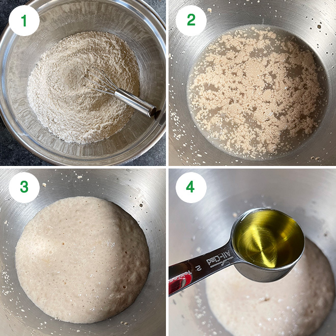 step by step picture collage of making vegan naan