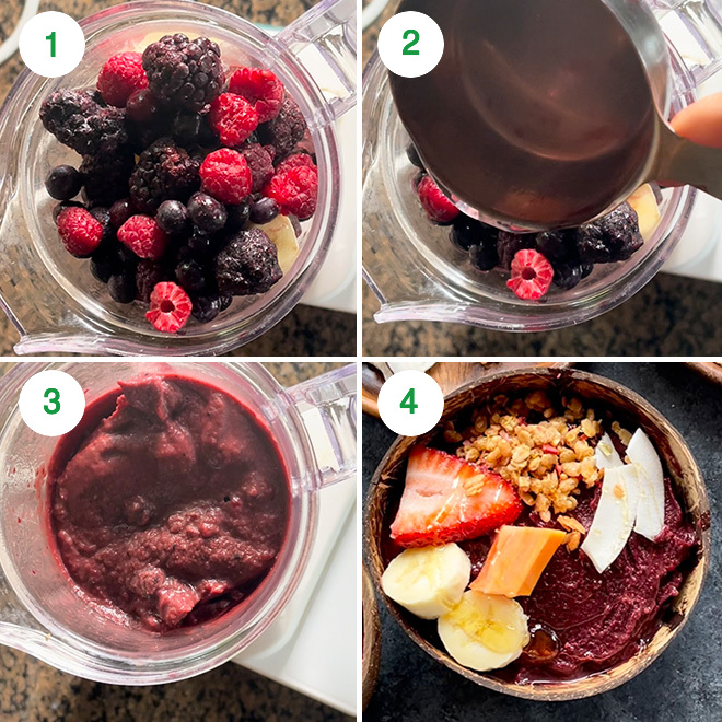 step by step picture collage of making acai bowl