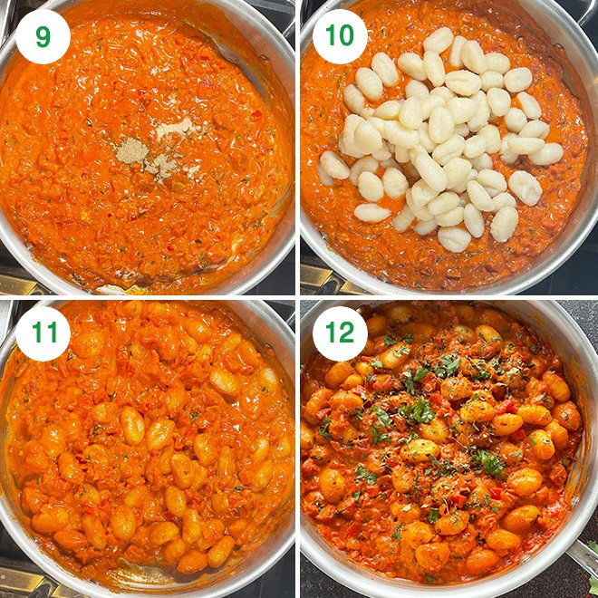 step by step picture collage of making gnocchi masala at home
