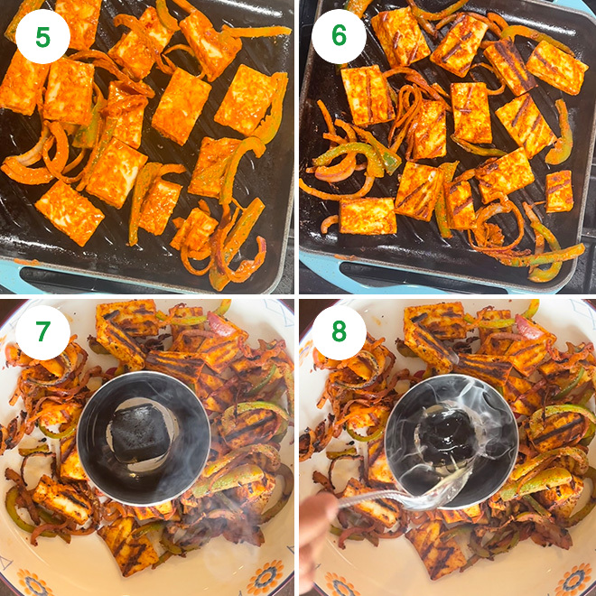 step by step picture collage of making tandoori paneer sandwich