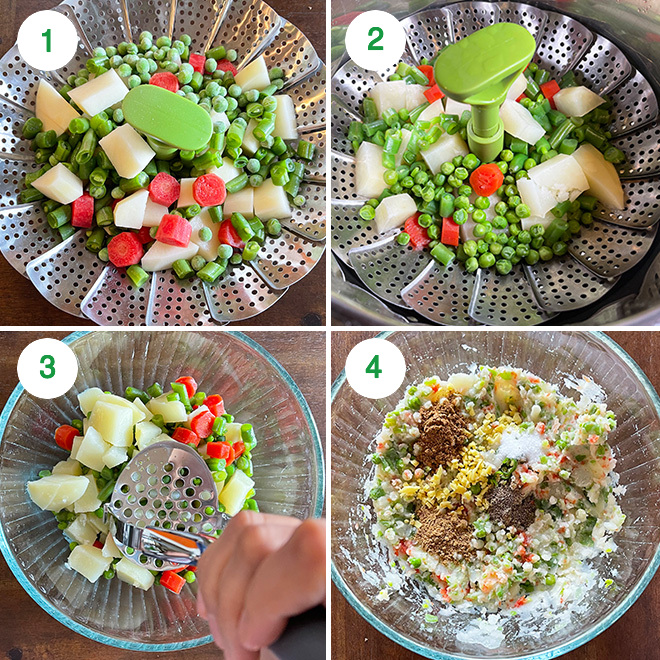 step by step picture collage of making veg cutlet