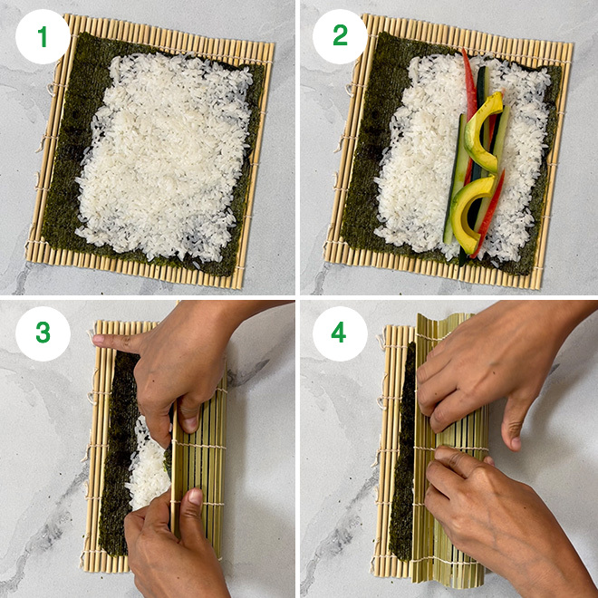 step by step picture collage showing how to make vegan sushi