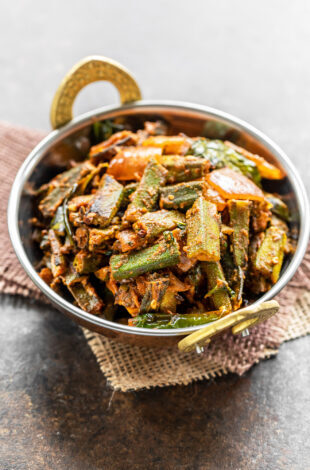 bhindi served in a copper kadai
