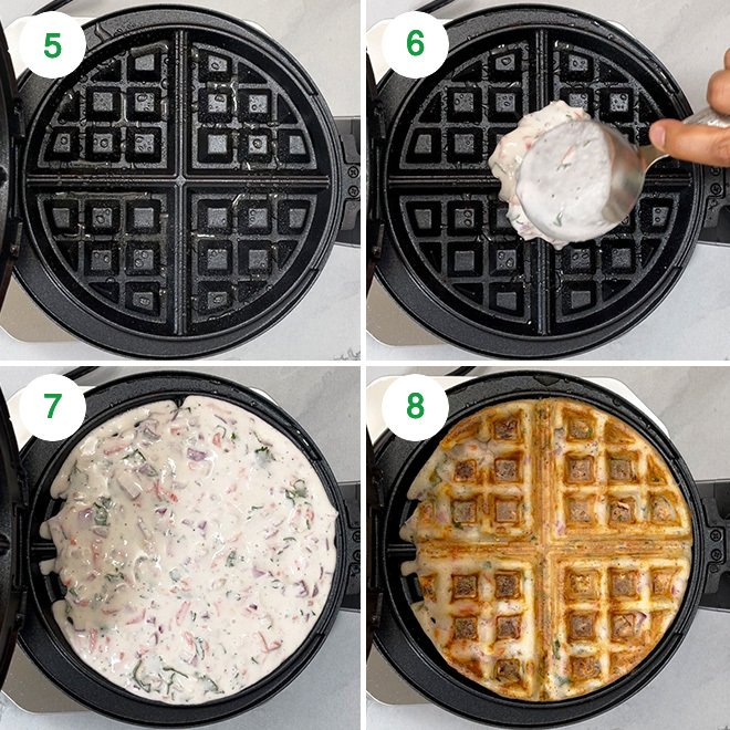 step by step picture collage of making dosa waffle