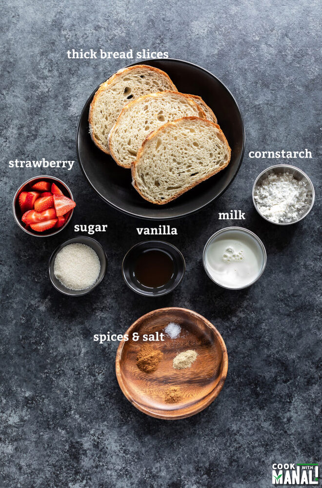ingredients for French toast arranged on a board