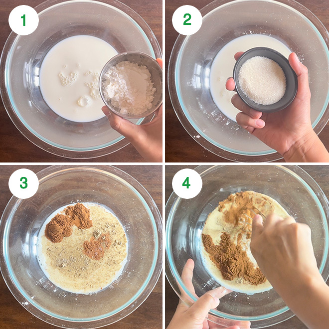 step by step picture collage of making eggless French toast