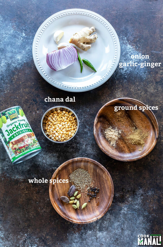 ingredients for jackfruit kebab placed on a board