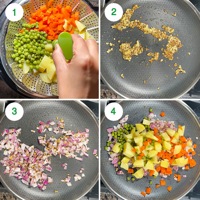 step by step picture collage of making veg puff at home