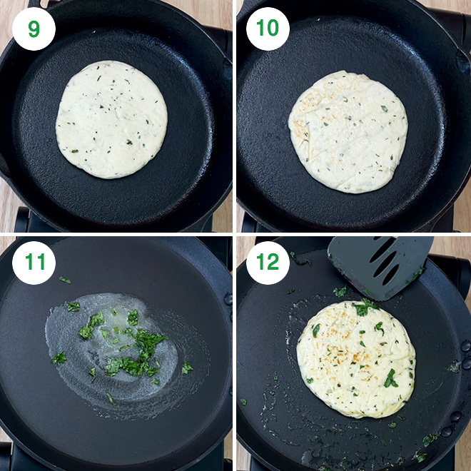 step by step picture collage of making bread kulcha at home