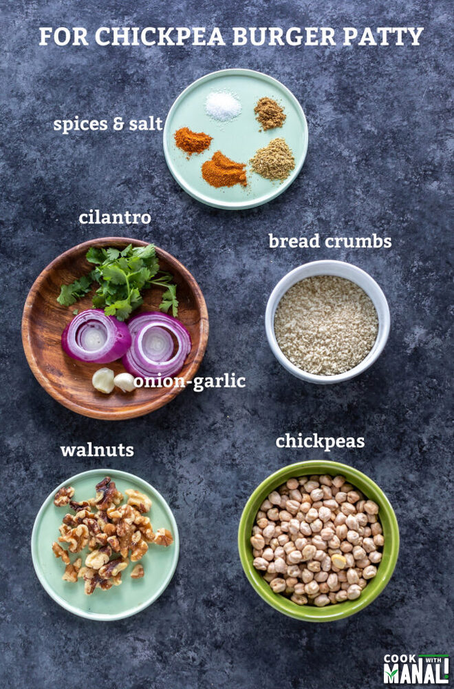 bowl with chickpeas, bread crumbs, plate with walnuts and another with spices