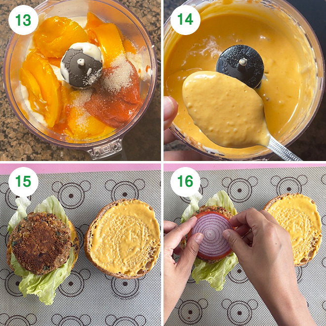 step by step picture collage of making chickpea burger