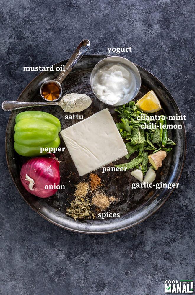 ingredients for hariyali paneer tikka arranged on a plate