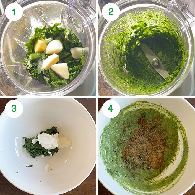 step by step picture collage of making hariyali paneer tikka