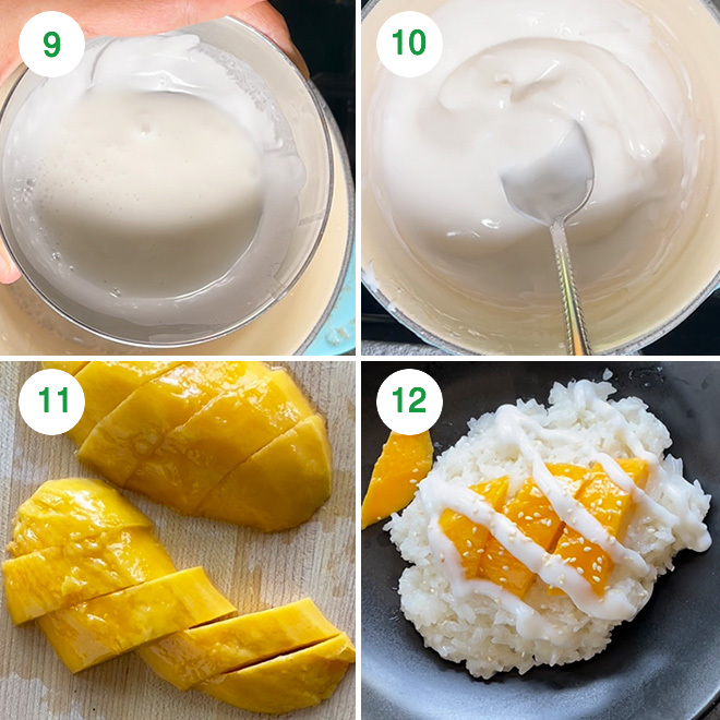 step by step picture collage of making mango sticky rice in instant pot