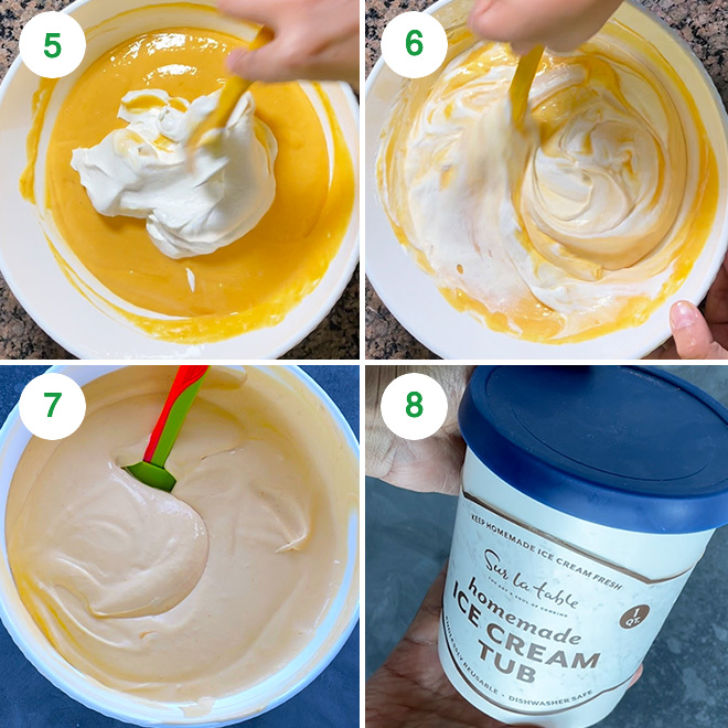 step by step picture collage of making mango ice cream