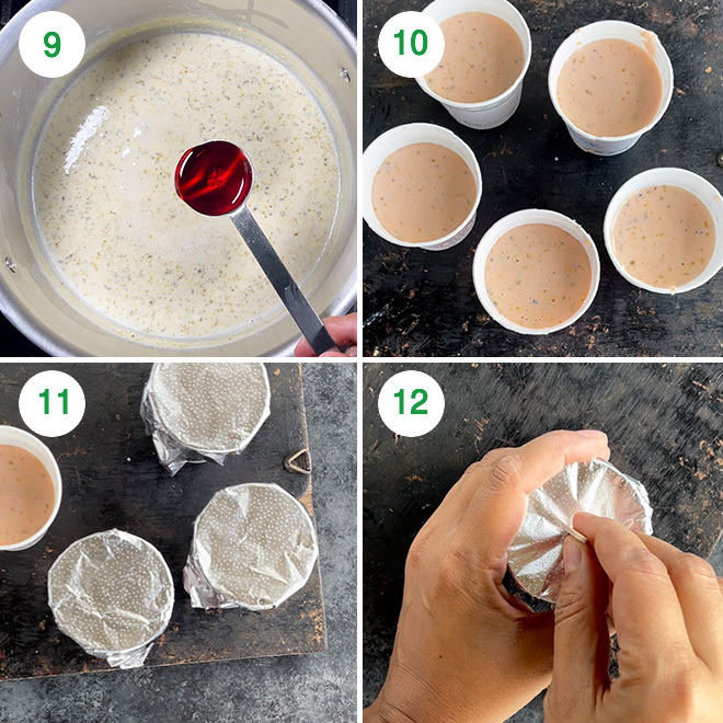 step by step picture collage of making rose kulfi