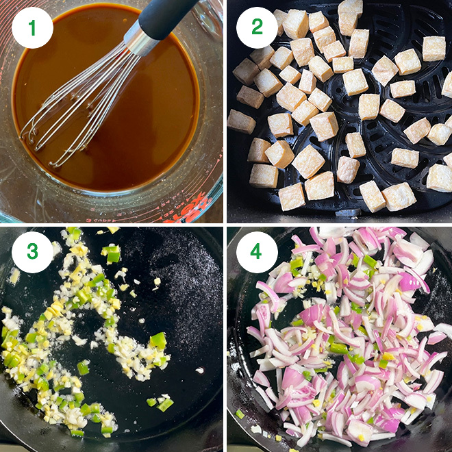step by step picture collage of making black pepper tofu