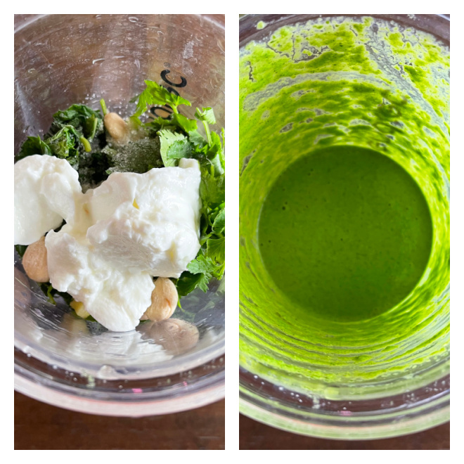 2 photographs side by side showing making of cilantro chutney