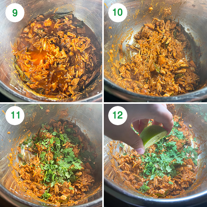 step by step picture collage of making jackfruit tacos in instant pot