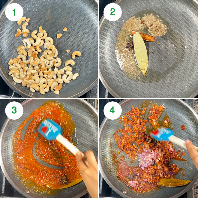 step by step picture collage of making kaju masala