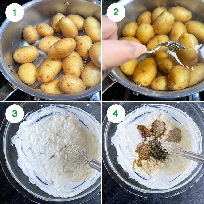 step by step picture collage of making malai aloo tikka