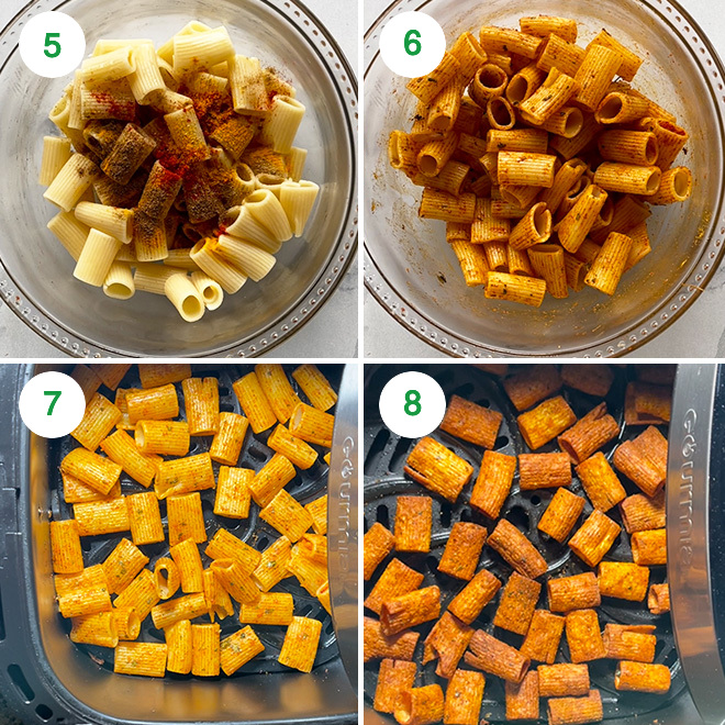 step by step picture collage of making pasta chips