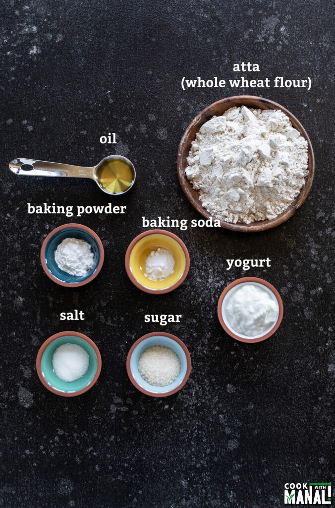 ingredients for tandoori roti arranged on a board
