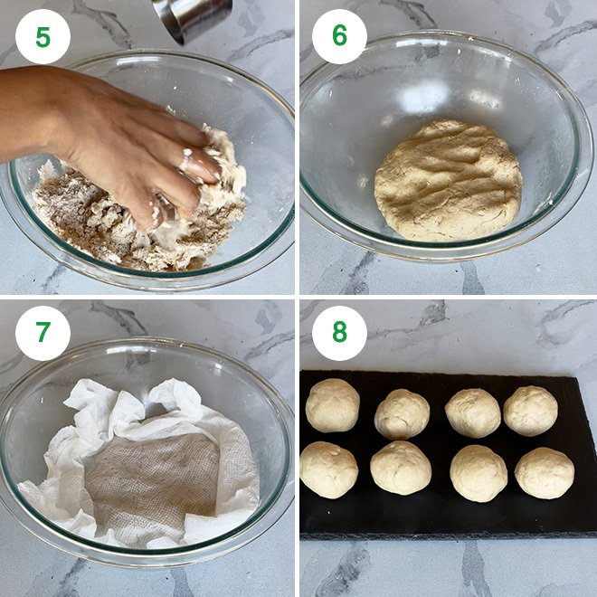 step by step picture collage of making tandoori roti at home