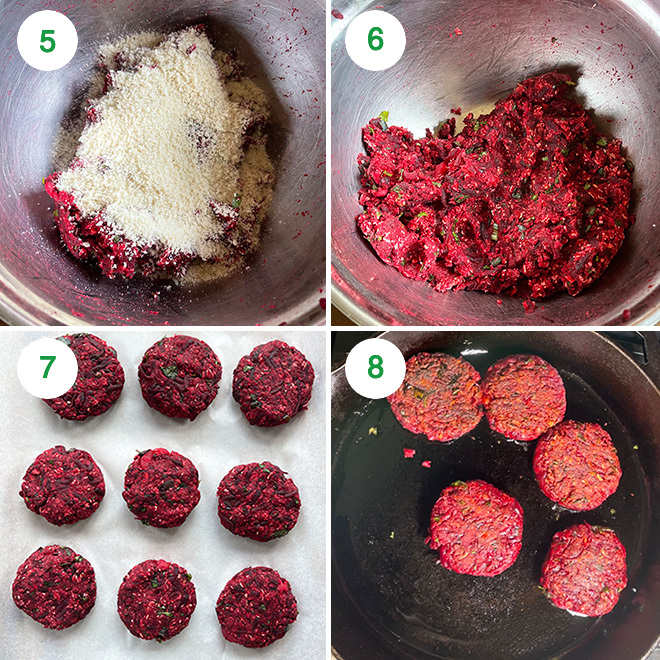 step by step picture collage of making beetroot tikki