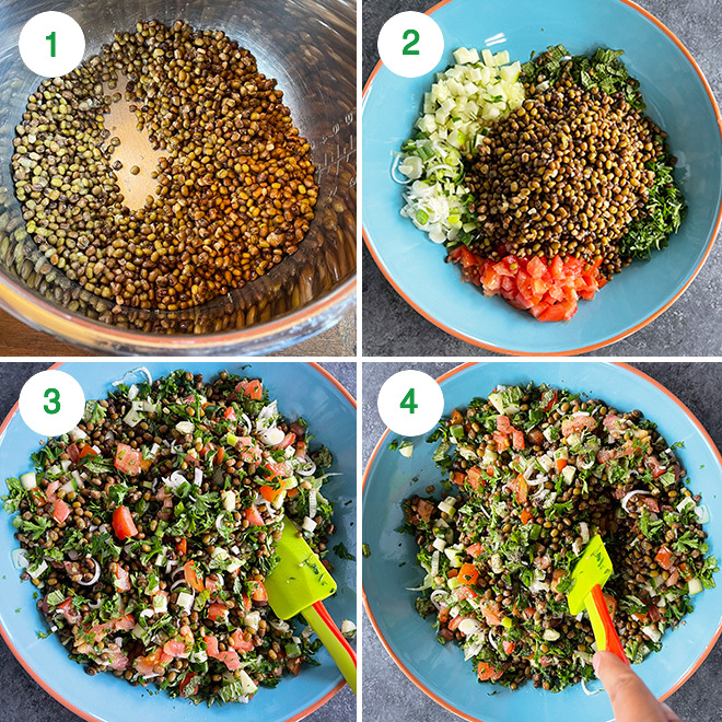 step by step picture collage of making lentil tabbouleh salad