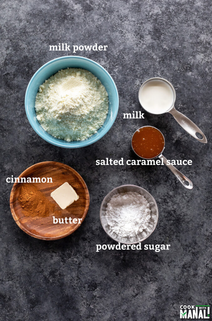 ingredients for making salted caramel burfi arranged on a board