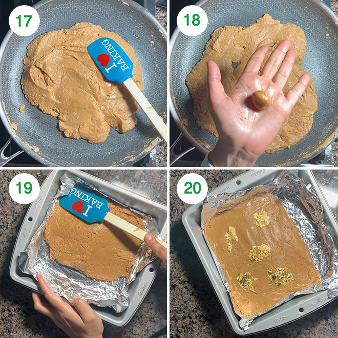 step by step picture collage of making salted caramel burfi